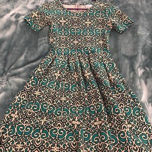 Lularoe Amelia graphic print - teal & cream - XS